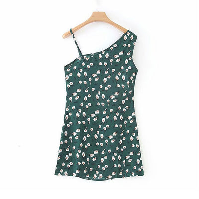 Sexy floral print one shoulder dress - goodwearing
