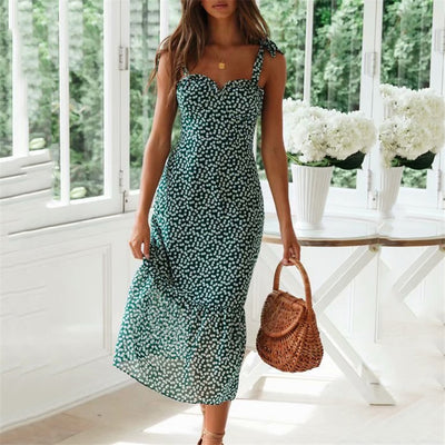 Women elegant print midi dress - goodwearing