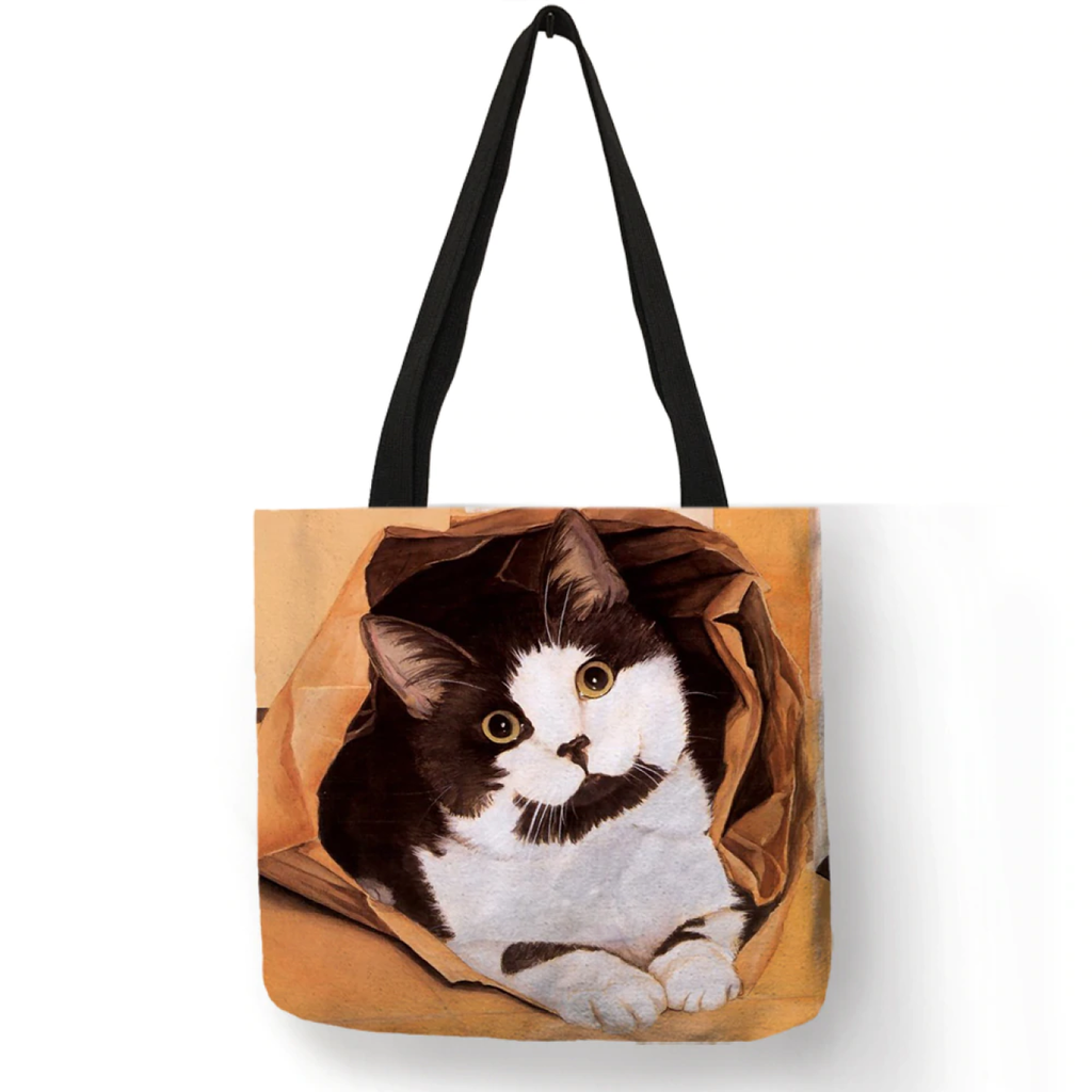 Classic Cat Prints Eco Linen Tote