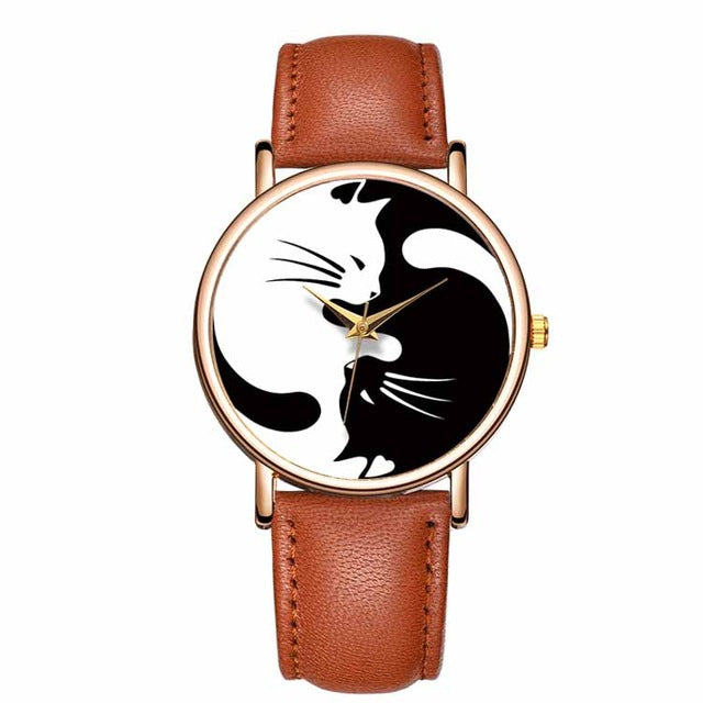 Black & White Ying-Yang Kitty Watch