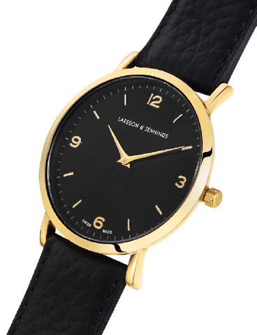 Lugano 38mm, Gold Case, Black Leather