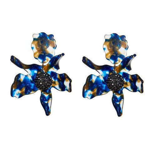 Crystal Lily Earrings (Pierced), Navy Streak