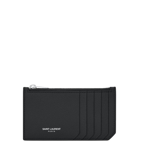 Fragments Zip Card Holder Grained, Black/Silver