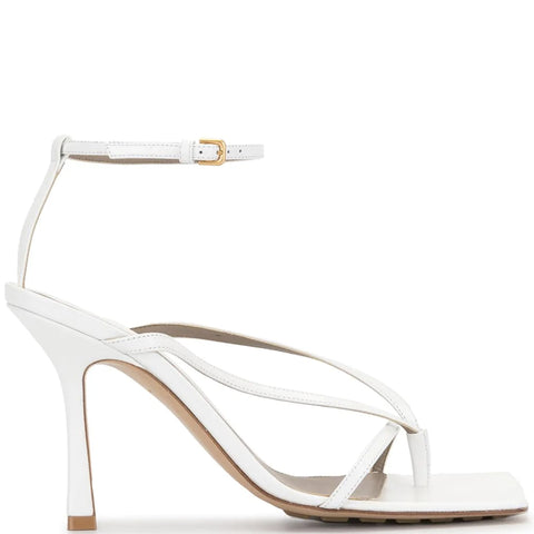 Stretch Square Sandal 90, Optic White
