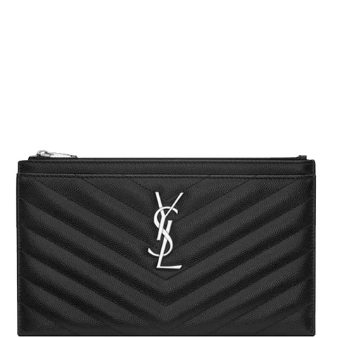 Monogram Bill Pouch, Black/Silver