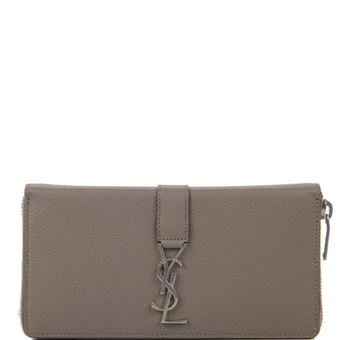 Y-Line Zip Wallet, Warm Taupe/Nickle