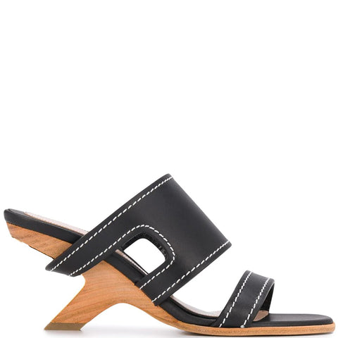 Wood Heel Mule, Black