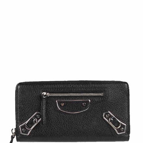 Metallic Edge Long Zip Wallet, Black/Silver
