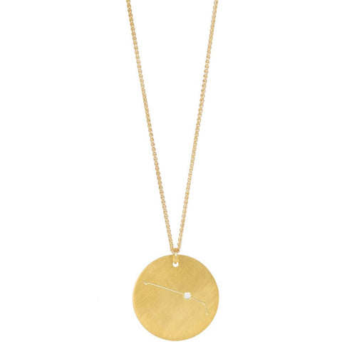 Zodiac Necklace Aries, Gold