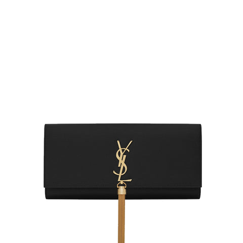 Kate Tassel Powder Grained Clutch, Black/Gold