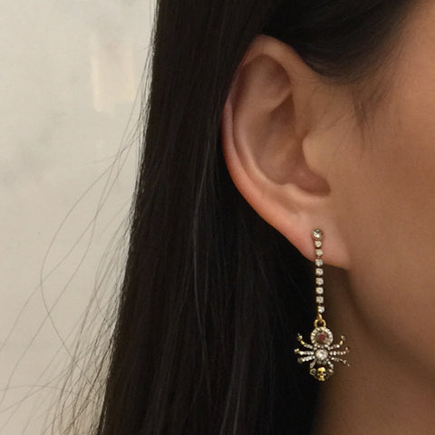Spider Chain Earring, Gold