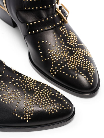 Susanna Low Boots, Black/Gold