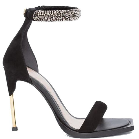 Crystal Suede High Heel Sandals, Black