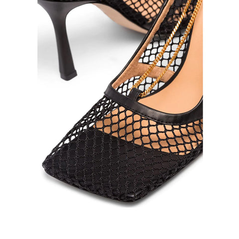 Stretch Mesh Square Sandals 90, Black