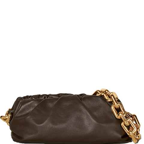 Chain Pouch Smooth, Fondente/Gold