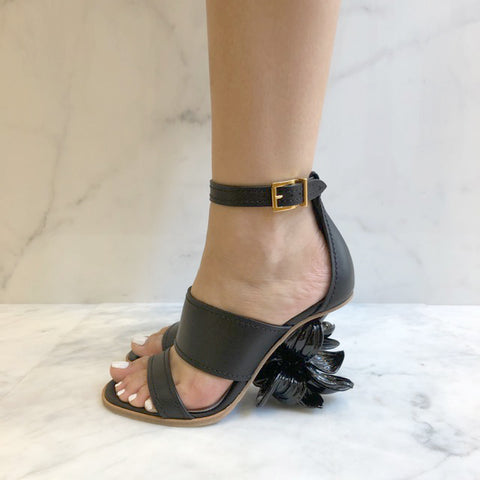 Floral Heel, Black/Gold