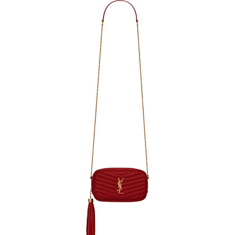 Lou Mini Chevron Camera Bag, Red Opyum/Bronze