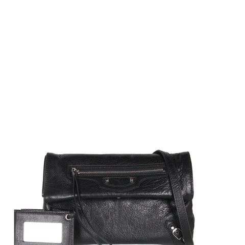 Envelope Clutch Mini Crinkle RH, Black/Silver