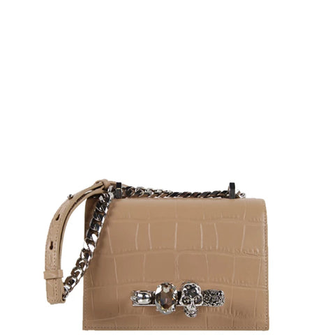 Jewelled Knuckle Satchel Small Glossy Croc, Camel/Silver