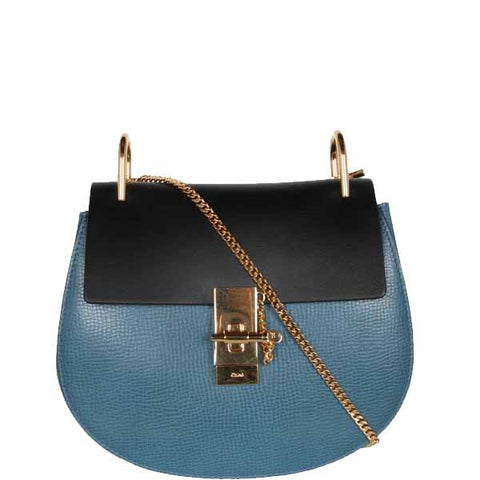 Drew Small Bi-Col Nappa, Blue/Black/Gold