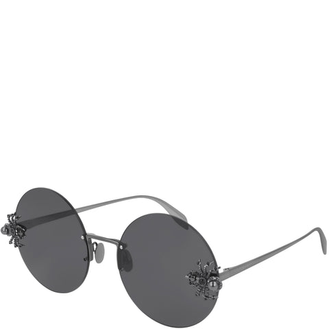 Round Jewelled Spider Sunglasses, Ruthenium/Grey