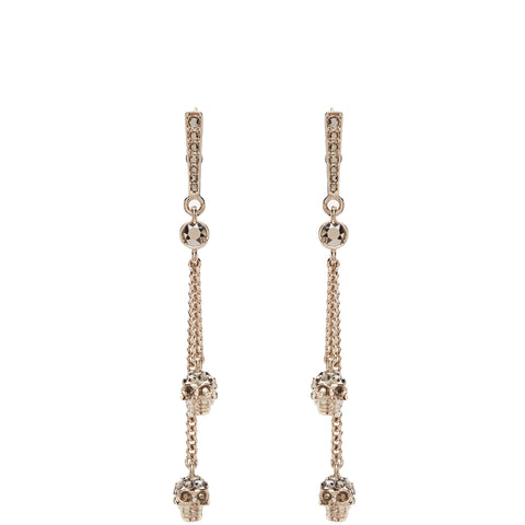 Skull Chain Dangle Earring, Gold