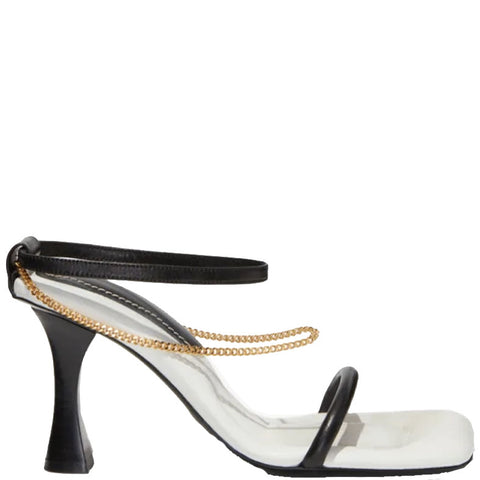 Chained Sandal 90, Black/White