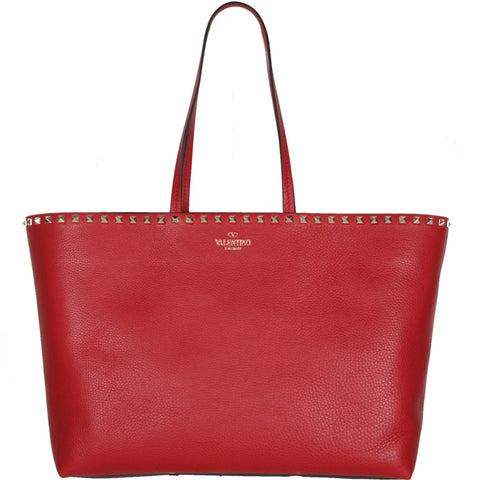 Tote East/West Shopper Grained, Red