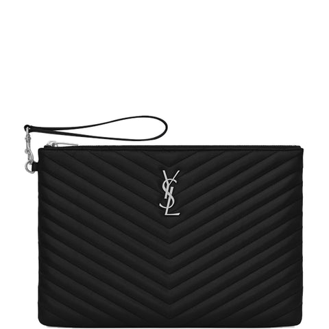 Wristlet Pouch Medium, Black/Silver