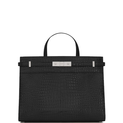 Manhattan Small Croc, Black/Silver