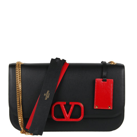 VSling Chain Medium Shoulder Red Tab, Black