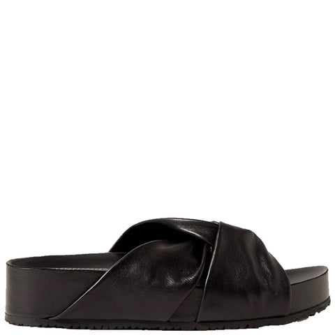 Twisted Flatform Sandal, Black