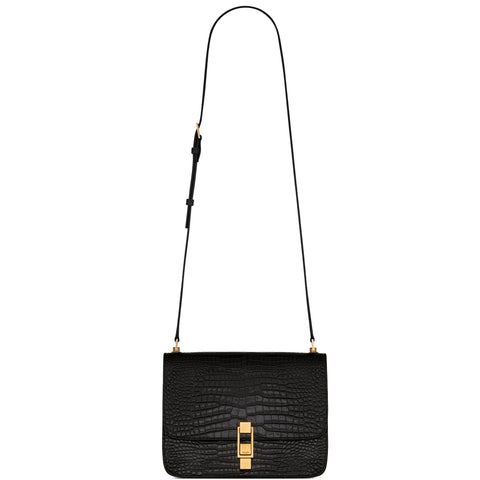 Carre Satchel Glossy Croc, Black/Bronze