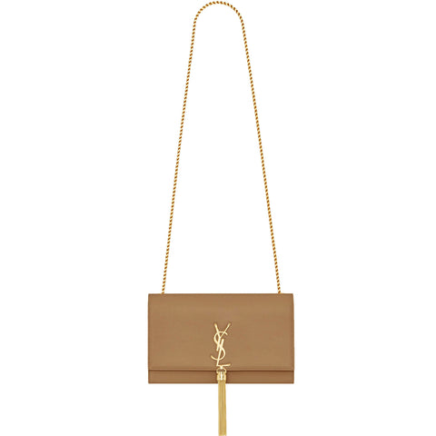 Kate Medium Tassel Powder Grained, Tan/Gold