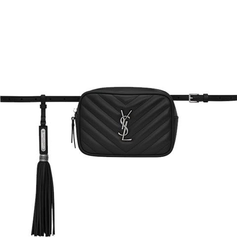 Lou Belt Bag Chevron, Black/Nickle