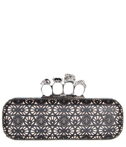 Knucklebox Clutch Laser Overlay, Teint/Black
