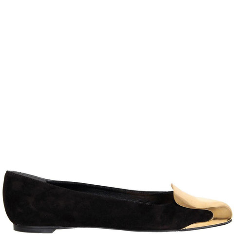 Metal Gold Cap Slipper, Black