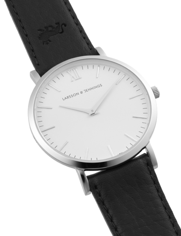 Lugano 40mm, Silver Case, Black Leather