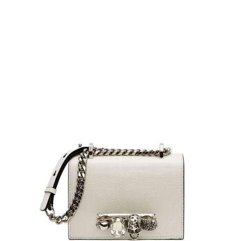 Jewelled Knuckle Satchel Mini Lizard, Deep Ivory/Silver