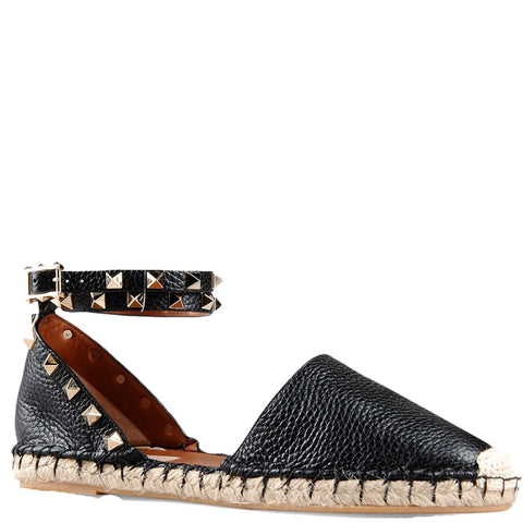 Rockstud Espadrille Ankle Wrap Flat Grained, Black