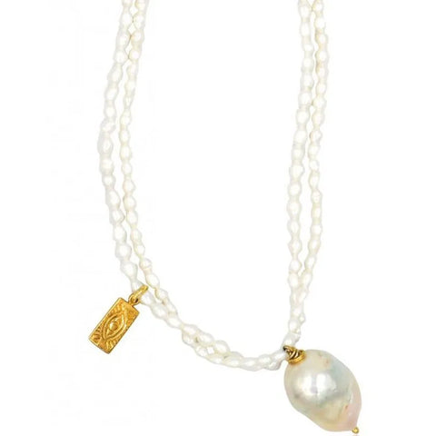 Mother of Pearl Necklace, Gold