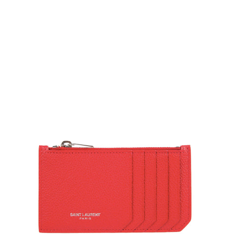 Fragments Zip Card Holder Grained, Red/Silver