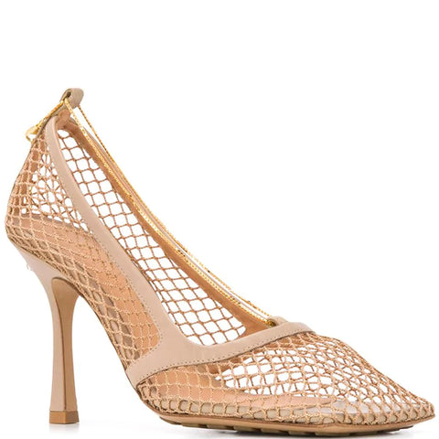 Stretch Mesh Square Sandals 90, Beige