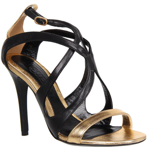 Strappy High Heel, Black & Gold