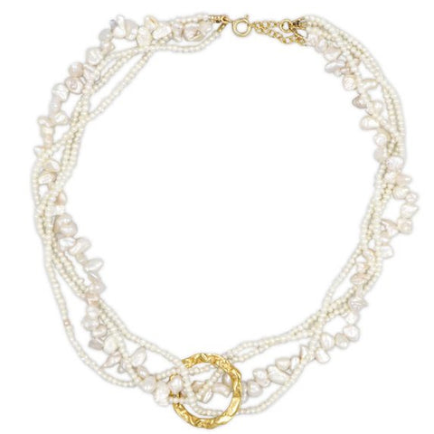 Full Moon Tangled Pearl Necklace, Gold