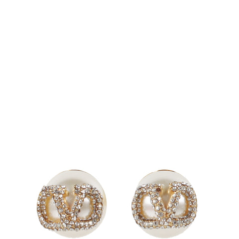 Pearl Crystal V Earrings, Gold