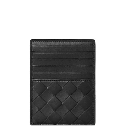 Flat Cardholder 6 with zip Intrecciato, Black