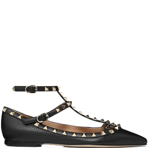 Rockstud Ballerina Caged Grained, Black