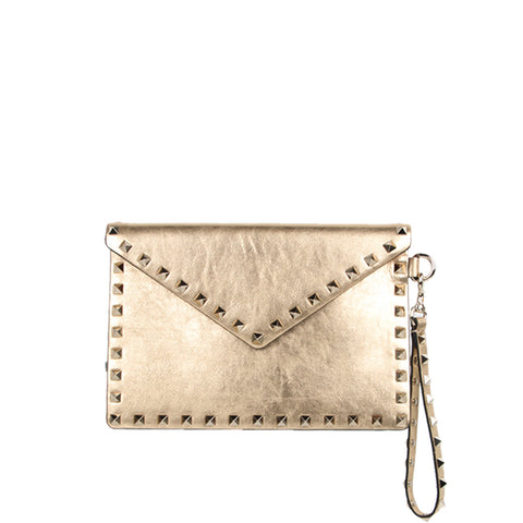 Medium Envelope Wristlet Metallic, Dark Gold
