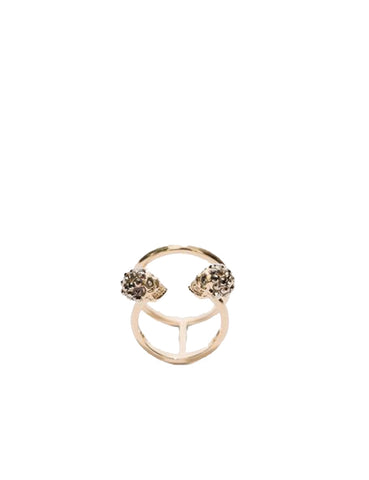 2 Row Twin Skull Ring, Pale Gold